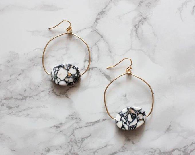 White & Navy Blue Gemstone Hoop Earrings