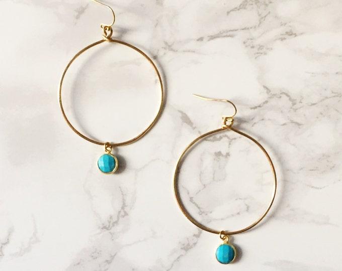 Gold Hoop Earrings - Turquoise Gemstone