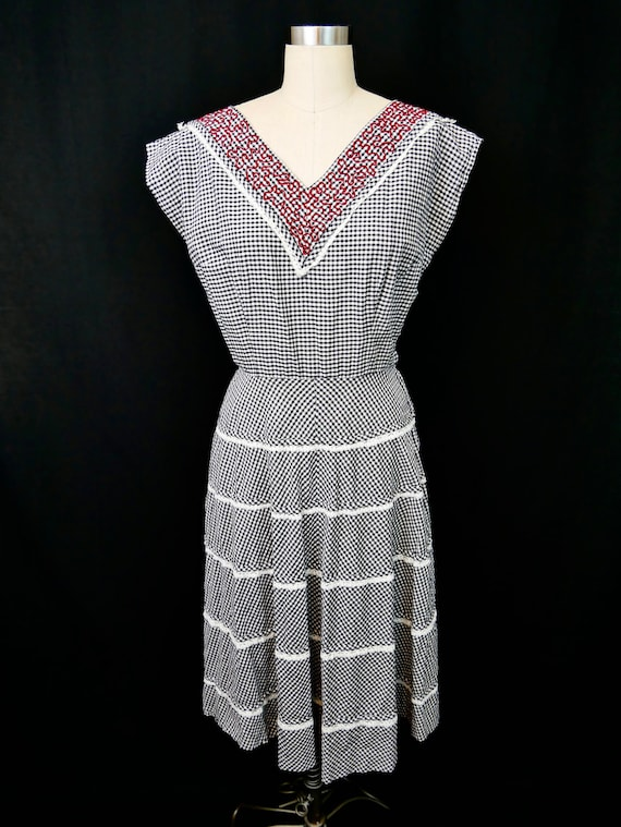 Black and White Gingham Dress with Red Chainstitch