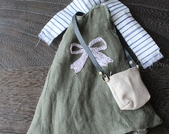 FREE SHIPPING/ Blythe Doll Outfit /  1/6 doll size /   sleeveless dress  set /cotton / linen / SD-10