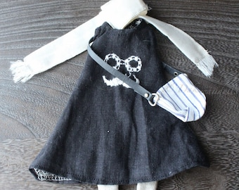 FREE SHIPPING/ Blythe Doll Outfit /  1/6 doll size /   sleeveless dress  set /cotton / linen /SD-12