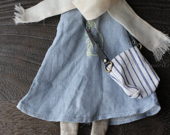 FREE SHIPPING/ Blythe Doll Outfit /  1/6 doll size /   sleeveless dress  set /cotton / linen /SD-07