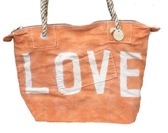 Ali Lamu Small Weekend Bag Tangerine LOVE Natural