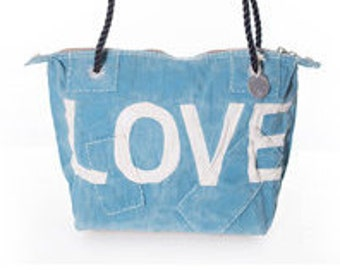 Ali Lamu Small Weekend Bag Turquoise LOVE Natural