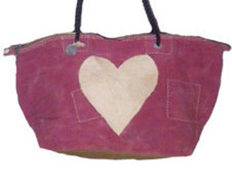 Ali Lamu Large Weekend Bag Pink Heart Natural