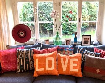 Ali Lamu LOVE cushions (set of 2) Tangerine with LOVE natural
