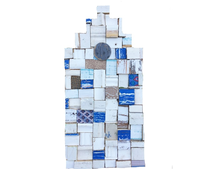 Dutch Canal House Block Art Recycled Wood