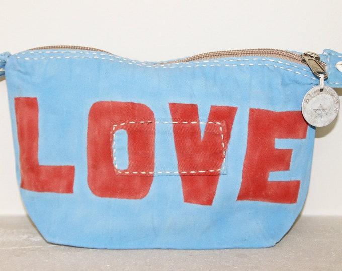 Ali Lamu Large Clutch Bag Light Blue LOVE Red