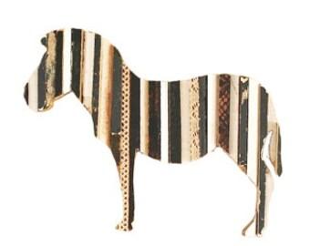 Zebra Stripes Art Recycled Wood