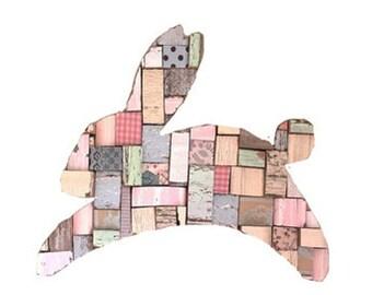 Bunny Blocks Pastels Art Recycled Wood