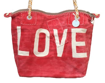 Ali Lamu Medium Weekend Bag Red Love Natural