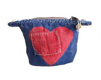 Ali Lamu Small Clutch Navy HEART Red