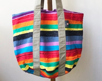 Up-cycled Colorful African Beach Bag