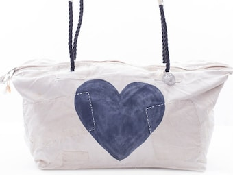Ali Lamu Large Weekend Bag Heart Navy Blue