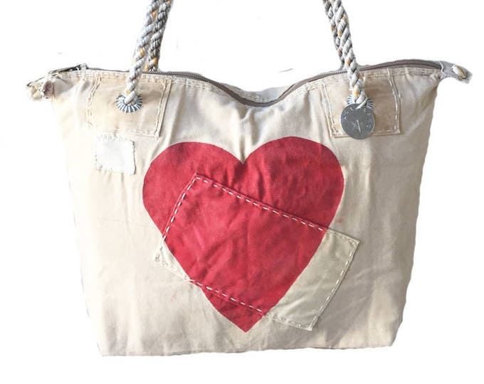 Ali Lamu Small Weekend Bag Natural HEART Red