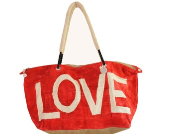 Ali Lamu Large Weekend Bag Red Love Natural