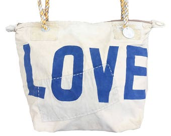 Ali Lamu Small Weekend Bag Natural LOVE Blue