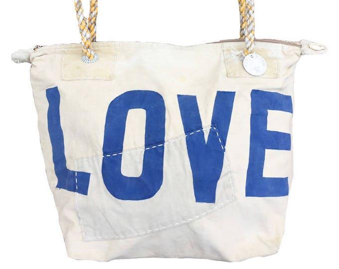 Ali Lamu Small Weekend Bag Natural LOVE Blue