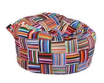 Handmade Colorful African Beanbag Ashanti 'Big Bori Bori'