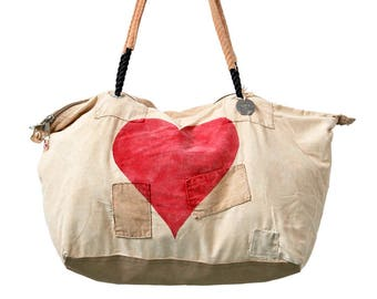 Ali Lamu Large Weekend Bag Heart Red