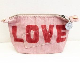 Ali Lamu Large Clutch Bag Pink LOVE Red