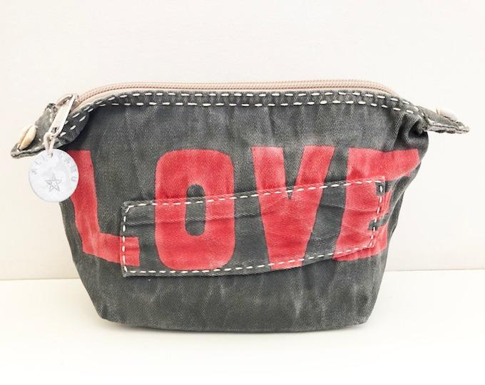 Ali Lamu Large Clutch Bag Grey LOVE Red