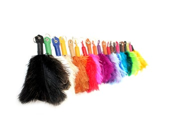 Brown / Grey Ostrich Feather Key Chain Fluffi
