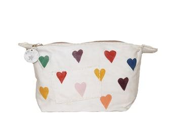 Ali Lamu Large Clutch Bag Natural HEARTS allover