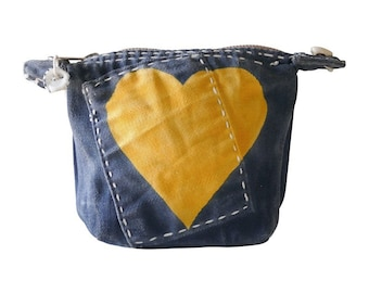 Ali Lamu Small Clutch Navy HEART Yellow