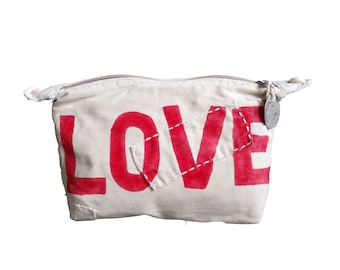 Ali Lamu Large Clutch Bag Natural Love Red