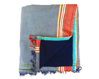 Kikoy Towel Blue with Navy backing