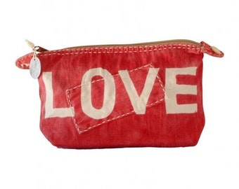 Ali Lamu Large Clutch Red LOVE Natural