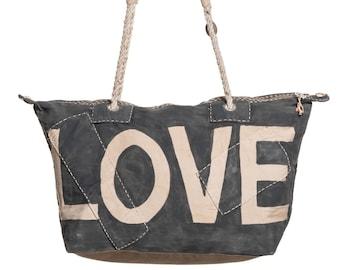 Ali Lamu Large Weekend Bag Black Love Natural