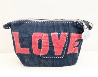 Ali Lamu Large Clutch Bag Navy LOVE Red