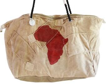Ali Lamu Medium Weekend Bag Natural Africa Red