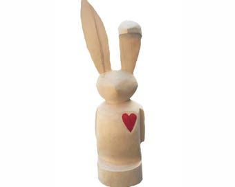 Wood crafted Bunny with Red Heart