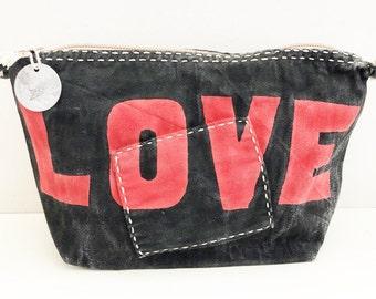 Ali Lamu Large Clutch Bag Black LOVE Red