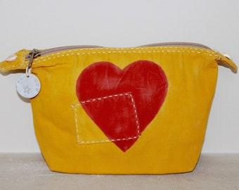Ali Lamu Large Clutch Bag Yellow HEART Red