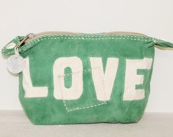Ali Lamu Large Clutch Bag Green LOVE Natural