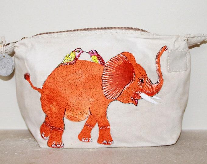 Ali Lamu Large Clutch Bag Natural Elephant Orange