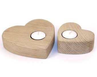 Heart Candle Holder Oak