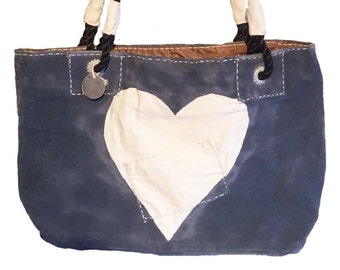 Ali Lamu Dora Bag Navy Heart Natural