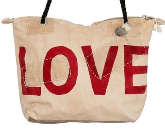 Ali Lamu Small Weekend Bag Natural LOVE Red