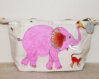 Ali Lamu Large Clutch Bag Natural Elephant Pink