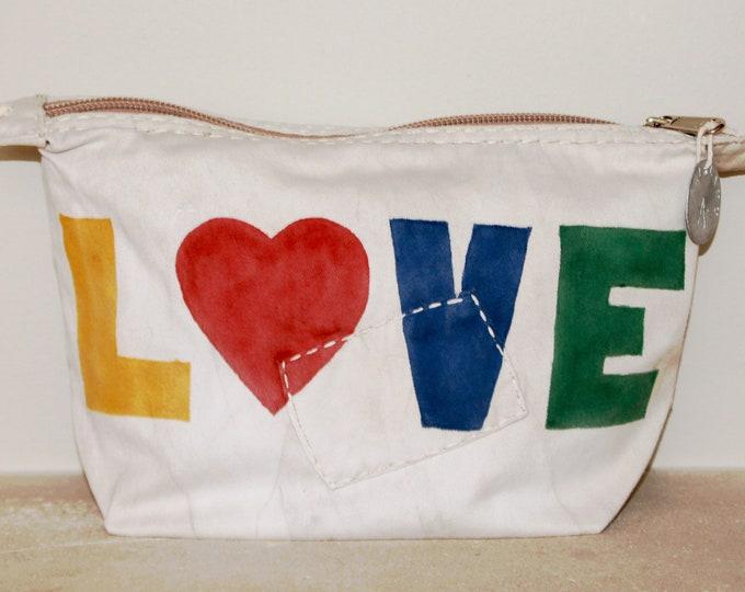 Ali Lamu Large Clutch Bag Natural LOVE Rainbow