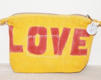 Ali Lamu Large Clutch Bag Yellow LOVE Red