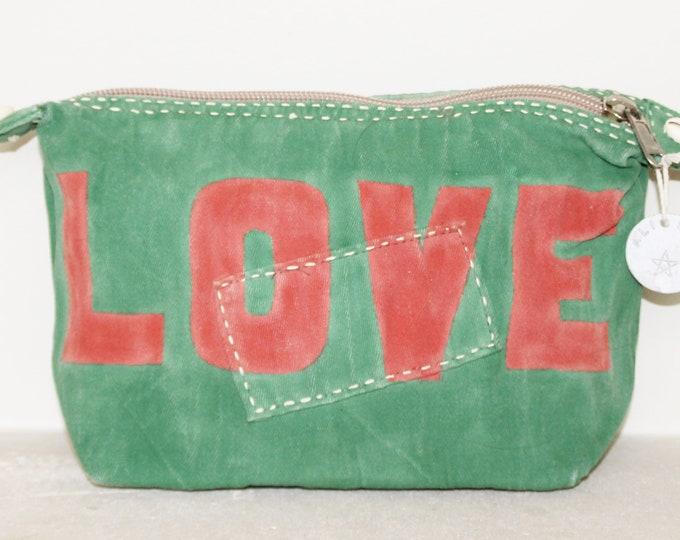 Ali Lamu Large Clutch Bag Green LOVE Red