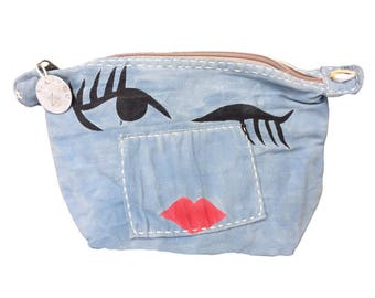 Ali Lamu Large Clutch Bag Blue Wink