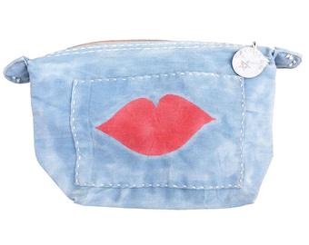 Ali Lamu Large Clutch Bag Blue Lips Red