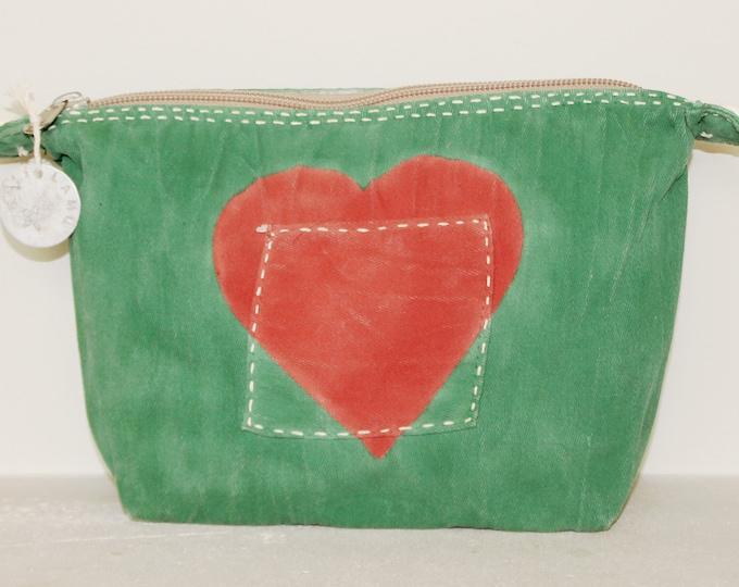 Ali Lamu Large Clutch Bag Green Heart Red
